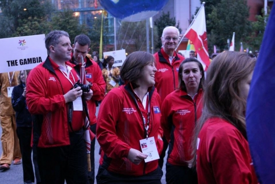 Natalie Brett (centre) with the Falkland Islands team in Isle of Man